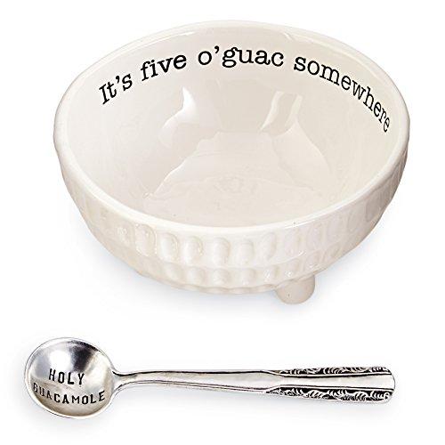 Mud Pie 4851076 Guacamole Serving Dish Set, White