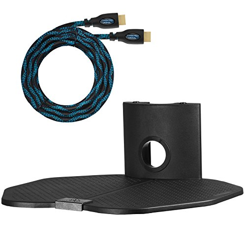 """Cheetah Mounts AS1B Mensola di Supporto da Parete con Un Ripiano da cm 45,7 x cm 40,6; Sostegno da Muro adatto a tutte le TV LCD, LED, Plasma e Schermo Piatto, per Organizzazione dei Cavi di Ricevitori TV, Satellite, Lettori DVD, Video-giochi, Sintonizzatori e Altri Sistemi Elettronici; Comprende Cavo HDMI """"Twisted Veins"""" da m 4,5."""