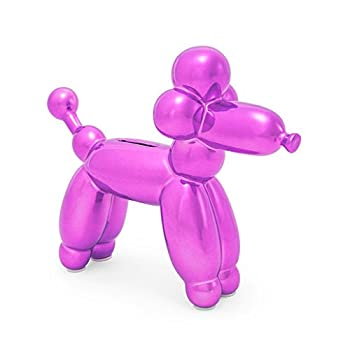 Made By Humans Balloon French Poodle Money Bank - Unique Animal-Shaped Ceramic Piggy Bank for Newborn Baby Young Children Adults Pink