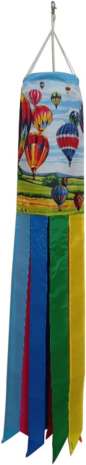 Majestic EPP Home and Outdoor 40-Inch Hot Air Balloons Race Over Green Meadow Decorative Windsock with Rainbow Colors Tails