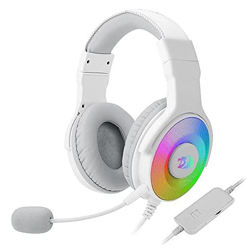 Headset Gamer Redragon Pandora 2 Lunar White RGB USB Microfone Removível Drivers 50mm - H350W-RGB-1