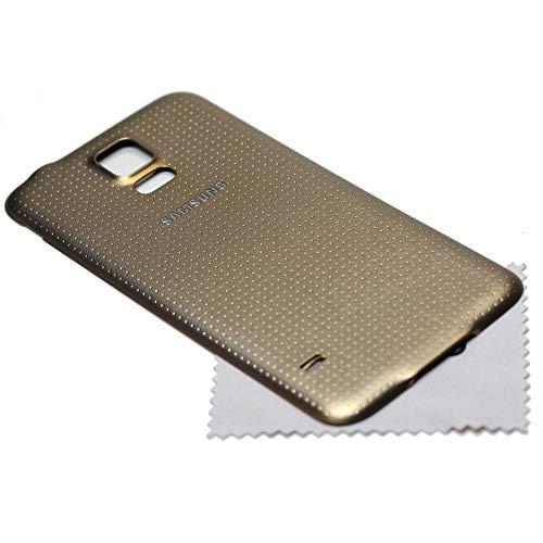 Akkudeckel für Samsung Original für Samsung Galaxy S5 Gold G900F Back Cover Rückwand mit mungoo Displayputztuch
