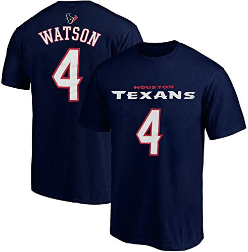 NFL Youth 8-20 Team Color Polyester Performance Mainliner Player Name and Number Jersey T-Shirt (X-Large 18/20, Deshaun Watson Houston Texans Navy Home)