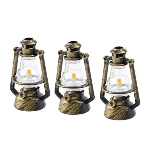 HEALLILY mini retro lámpara de queroseno ornamento 1:12 casa de muñecas muebles en miniatura casa de muñecas decoración accesorios paisaje decoración 6 piezas