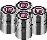 Lxzy 4 Stück Auto Ventilkappen für FIAT 500 Punto Bravo Stilo Panda Abarth,Auto Rad Reifen Ventilkappen mit Emblem Aluminium Reifenventil Staubkappen Verhindern Luftleckage Reifendekoration zubehör