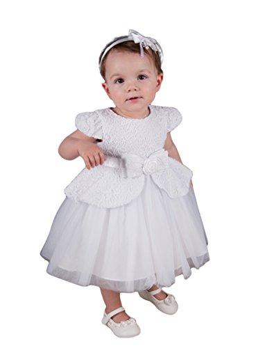 Boutique-Magique Robe de baptême Blanche bebe et Petite Fille, Blanc, 18 mois