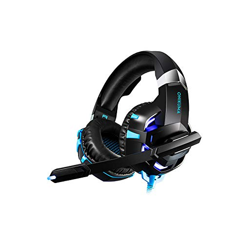 K2A Game Headphones 3.5 Glowing Computer Electric Game Headset ps4 Wired Headphones K2A Black and Blue 3.5-USB-plus Conversion Line