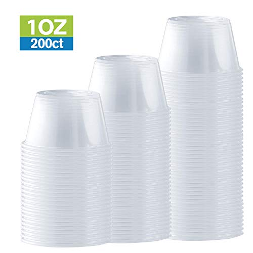TashiBox Disposable Mini Cups, Portion Cups (No Lids), 200 Count (1 oz)