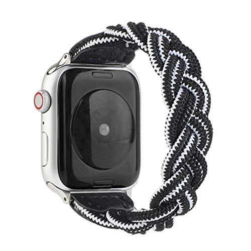Correa de nailon trenzado de tela para Apple Watch 40MM 44MM 38MM 42MM Hombre Mujer Banda de pulsera ajustable para iWatch 6 5 4 3 2-14, para 38MM 40MM, 160mm