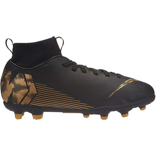 Nike JR Superfly 6 Club FG/MG Soccer Shoe (1Y US, Black/Metallic Vivid Gold)