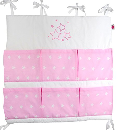 Babymajawelt Portaoggetti 'STARS/stelle' con applicazione ricamata per lettino di bambino (rosa)