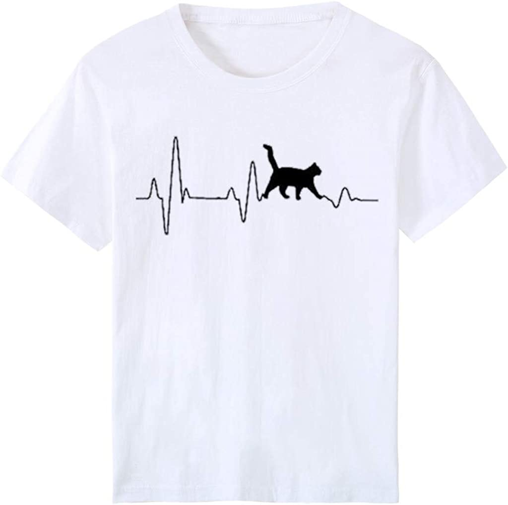 T Shirts for Women Graphic Vintage Short Sleeve Tops Summer Loose Fit Graphic Tees Cute Heartbeat Cat Print T-Shirts