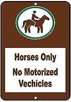 馬のみ電動車両なし。メタルティンサイン耐久性、耐水性、セキュリティを警告する道路交通の危険を通知します