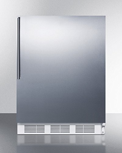 "Summit AccuCold ALB751SSHV 24"" Wide 5.5 Cu. Ft. Built-In Undercounter All Refrigerator with Automatic Defrost Deep Shelf Space Hidden Evaporator and Adjustable Thermostat in Stainless"