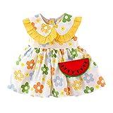 Fomino Vestido de verano para niña, línea A, manga corta, cuello de muñeca, flor, sandía, vestido de princesa + bolso bandolera, linda niña estampado de frutas amarillo Talla única