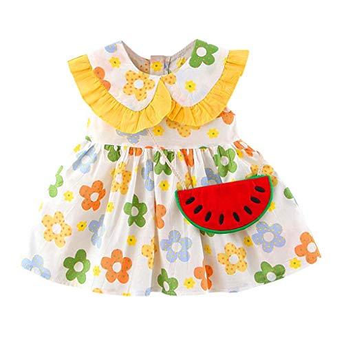 Realde Mädchen MiniKleid+Umhängetasche Mode Ärmellos Wassermelonendruck Kinder Baby Kurze Kleid Prinzessin Sommerkleid Urlaub Outfit Kleidung Schön Kleinkind