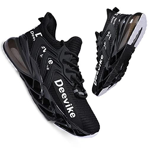 Deevike - Zapatillas de deporte para mujer, transpirables, con cojín de aire, (3 blanco y negro.), 42 EU