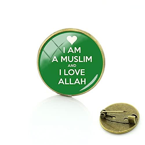 Dios árabe Allah Broche Islámico Musulmanes Antiguo Bronce Pin Insignia Redondo Vidrio Hombres Mujeres Moda Vintage Joyería