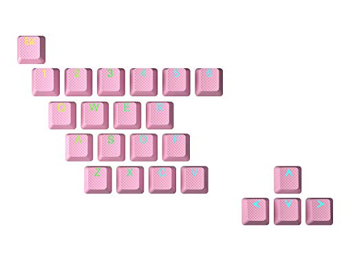 HK Gaming Juego de teclas dobles retroiluminadas de goma   Perfil OEM para teclado mecánico (23 llaves, rosa prisma)