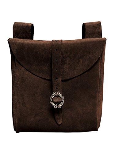 Andracor Mittelalter LARP Zubehör große Gürteltasche aus echtem Leder - Dunkelbraun