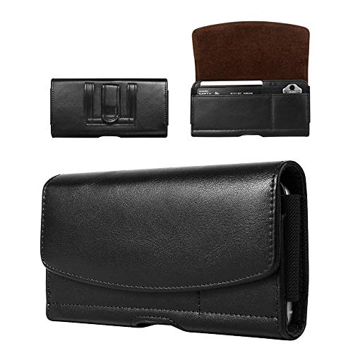 Extra Large Cell Phone Belt Clip Holster Case PU Leather Pouch Holder for Samsung Galaxy S20 Ultra A20S A21S A70 A71 Note 20 Ultra Note 10 Plus 9, OnePlus 8 Pro, Xperia 10 Plus, ZTE Blade Z Max -XL