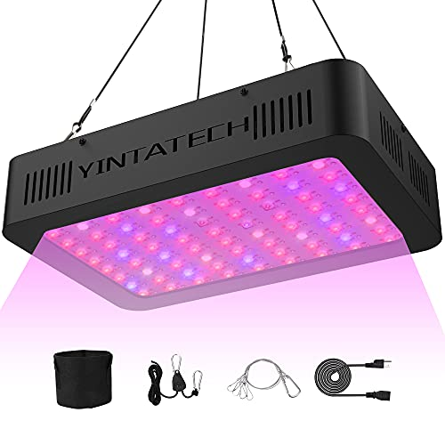 YINTATECH 1000W LED Grow Light Full Spectrum Growing Lamp for indoor plant with Veg and Flowers Double Switch, Hydroponic Greenhouse Plants, Daisy Chain, Adjustable Rope Hanger, Hygrometer Thermometer