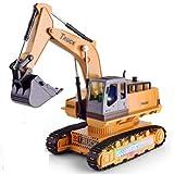 Lihgfw Control Remoto Excavadora Juguete 8 Canales ingeniería vehículo Control Remoto eléctrico Coche Excavadora Chico Juguete Coche ingeniería Modelo niño Juguete Regalo (Color : Natural Yellow)