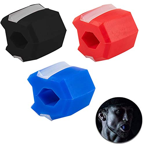 Neck Muscle Builder Jaw, Face Exerciser, Black, Blue, Red, Helps Reduce Stress and Cravings Facial Exerciser