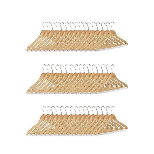 Relaxdays Kleiderbügel Set, 48 Hosenbügel aus Holz, Garderobenbügel, Haken 360° drehbar, HxB: 22,5x44,5cm, natur/silber