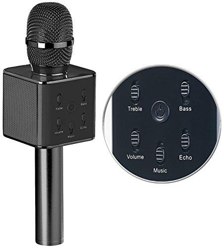 auvisio Karaoke Mikro: Karaoke-Mikrofon mit Bluetooth, MP3-Player, Lautsprecher und Akku (Karaoke Mikrofon kabellos)