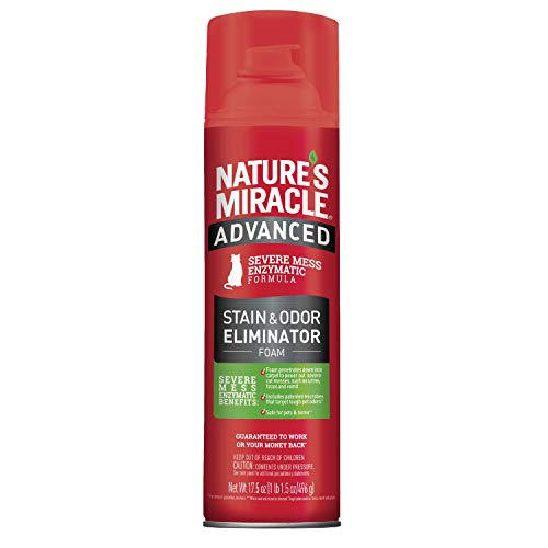 Nature's Miracle Advanced Stain and Odor Eliminator Foam Cat 17.5 Ounces, for Severe Cat Messes, Aerosol