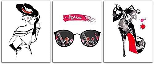 XYYCZ Cuadros de Pared Moda Mujer Tacones Altos Gafas de Sol Imagen Blanco y Negro Vogue Maquillaje Pintura Decoración de pared3 Piezas 40x60cm sin Marco