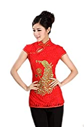 Chinese Cheongsam Top Blouses Qipao Peacock Ladies Tang Suit Shirts