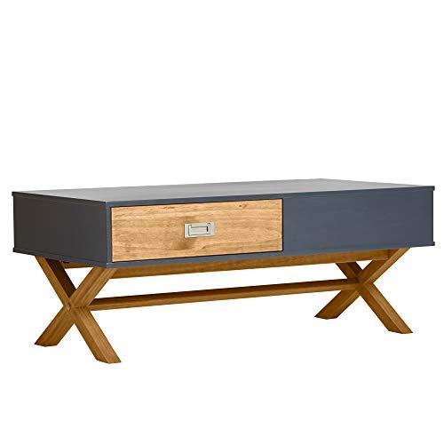 VS Venta-stock Tavolino da caffè Luna 2 Cassetti Color Grigio, 110 x 60 x 45