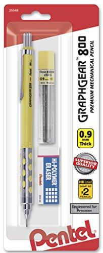 Pentel Graph Gear 800 Mechanical Drafting Pencil, 0.9mm, Yellow Barrel with (PG809LZBP)