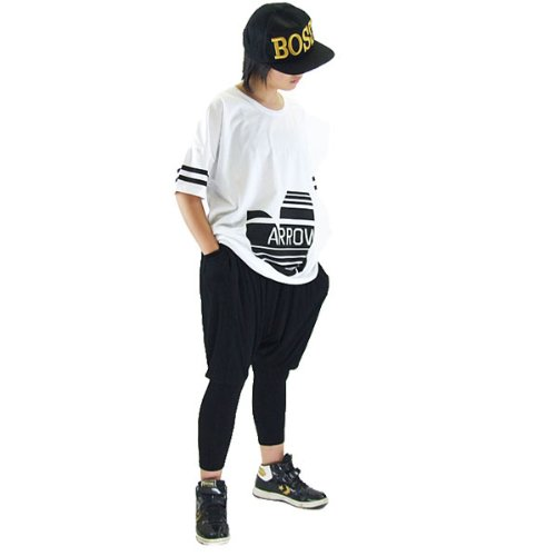 DFギャラリー サルエルパンツ ダンス衣装 レッスン着 薄手 ストレッチ BO2012 ブラック キッズM(目安120〜130cm)