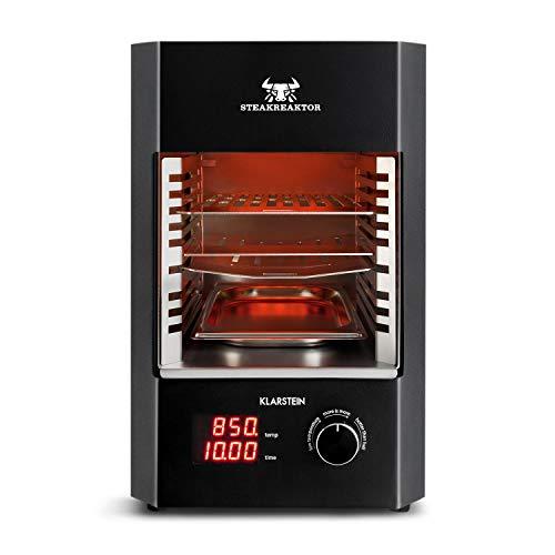 Klarstein Steakreaktor 2.0 - Das Original, Made in Germany, Hochleistungsgrill, Elektrogrill, Hochtemperatur-Grill, 850°C, Keramik-Heizelemente, Abschaltautomatik, Grilleinsatz, schwarz