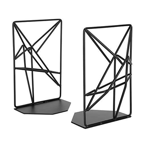Extremos de libro negros de 7.2x4.7in, soportes de sujetalibros de metal resistentes antideslizantes para suministros de papelería de decoración de escritorio de oficina en casa, 1 par
