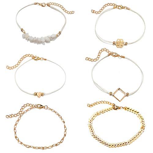 LIGHTBLUE - Juego de 6 pulseras geométricas con cuentas de corazón bohemio y múltiples capas para mujer