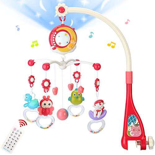 Mini Tudou Baby Musical Mobile Crib Toys with Projector and Light, Timing Function, Remote Control Baby Cot Mobile with Take Along Music Box and Rattles, Gift for Newborn Babies Boys Girls