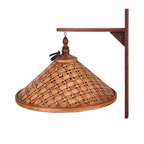 Pointhx Lámpara de pared Estilo tailandés Aplique de pared vintage 1 luz E27 Decoración Lámpara de cabecera Sombrero de tejido de bambú Pantalla Aplique de pared Sala de estar Corredor Villa Restauran
