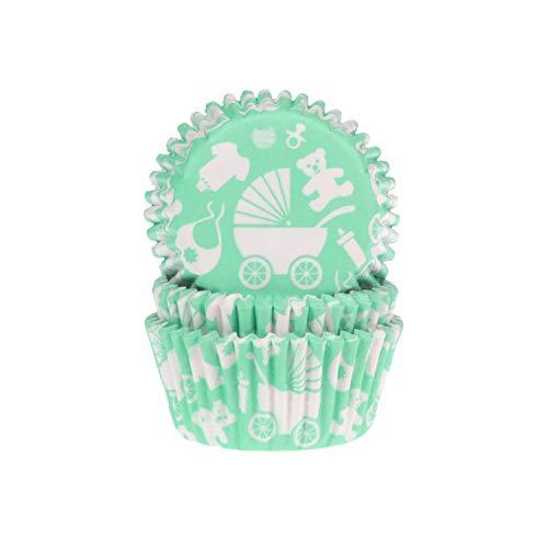 House of Marie Lot de 50 caissettes à muffin bébé vert menthe
