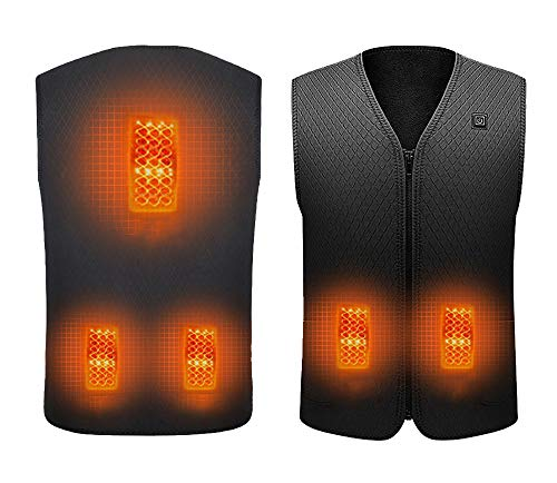 Heated Vest USB Charging Electric Heated Jacket for Women Men Outdoor Motorcycle Riding Hunting (Battery Not Included) Black