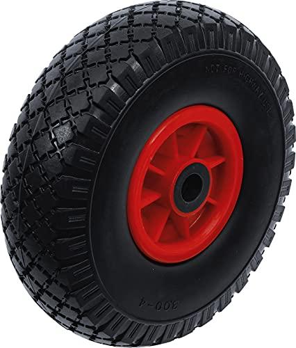 BGS Diy 80650 | Rad für Sackkarren/Bollerwagen | PU, rot/schwarz | 260 mm | Vollgummi, pannensicher