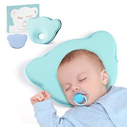 Elegear Babykissen gegen Plattkopf und Kopfverformung, Kopfkissen für Baby, Babykopfkissen zur Heilung und Vorsorge der Plagiozephalie, Wechselbare Kissenbezüge (Blau)