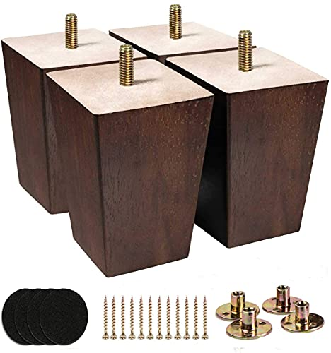 Gambe di ricambio per mobili con gambe e protezione in feltro per divano, armadio, divano Ottoman, 10 cm, marrone e nero