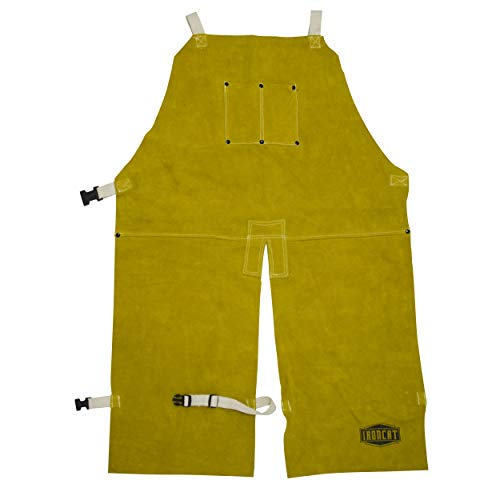 West Chester IRONCAT 7011 Leather Split Leg Bib Apron – 24in. x 36 in. Welding Chaps with Anodized Snaps and Rivets, Kevlar Sewn, Split Cowhide Leather. Welding Protection Apparel