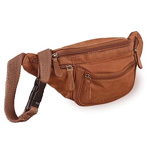 STILORD 'Eliah' Riñonera o Bolsa de Cuero Vintage Bolso de Cintura Cadera o cinturón para Hombre y Mujer para Deportes Running Fiestas Ocio o Aire Libre, Color:Naranja - marrón