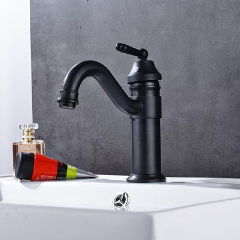 Retro Deluxe Fauceting Kostenloser Versand Badezimmer Waschbecken Wasserhahn W Hot kaltes Wasser Waschbecken Wasserhhne Chrom Antik ORB, Schwarz