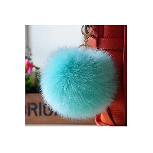 Pendiente colgante de moda encantador estupendo grande del pelo del zorro de imitación colgante de moda del bolso ( Color : Green )